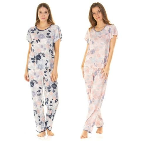 SUMMER FLORAL T-SHIRT PYJAMAS PJ'S SET, SHORT SLEEVE LOUNGEWEAR